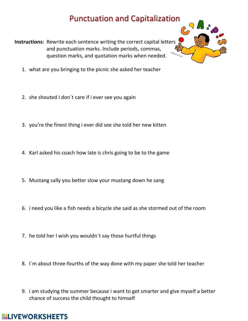 medium resolution of Punctuation and capitalization worksheet