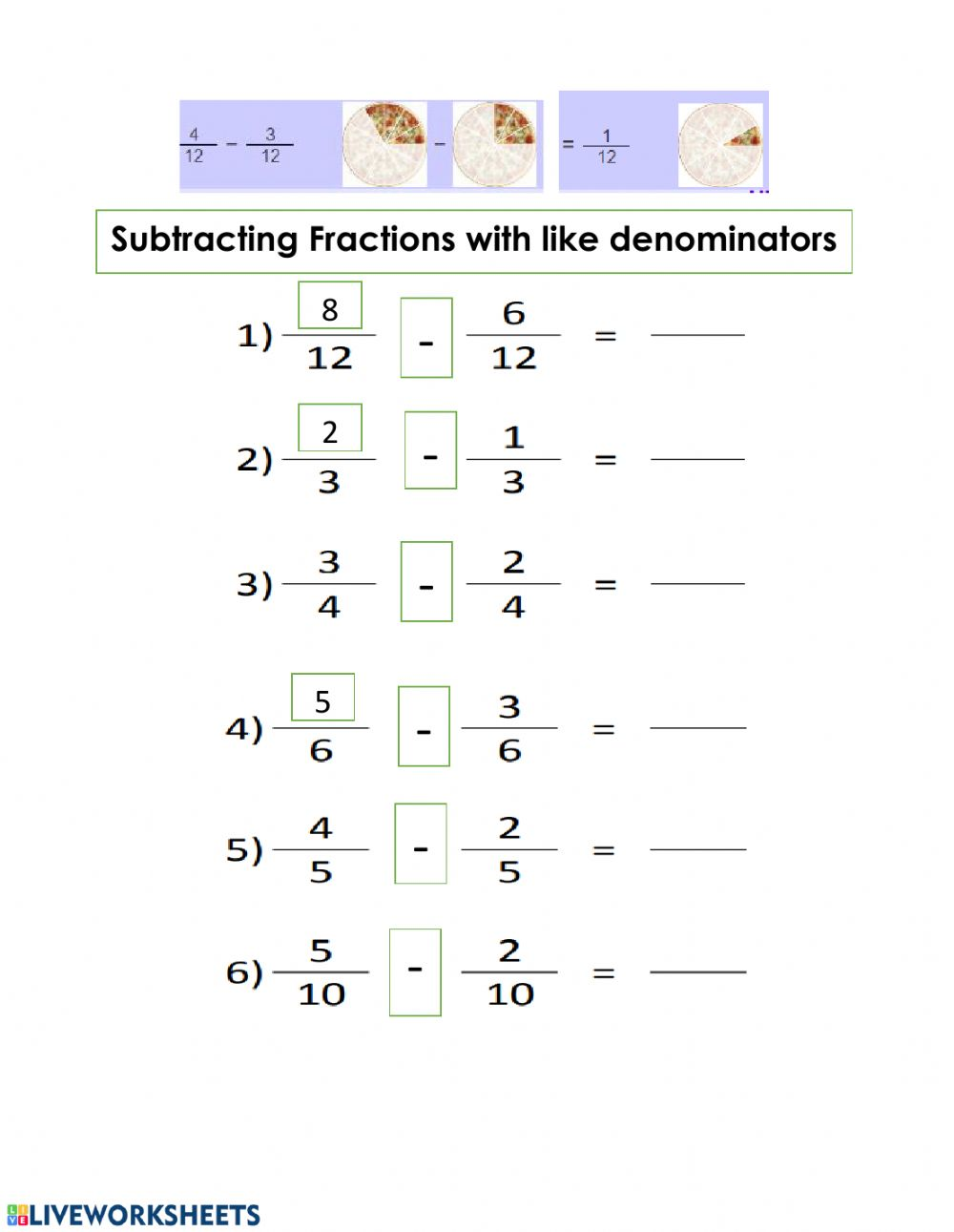 hight resolution of Subtraction Fractions worksheet