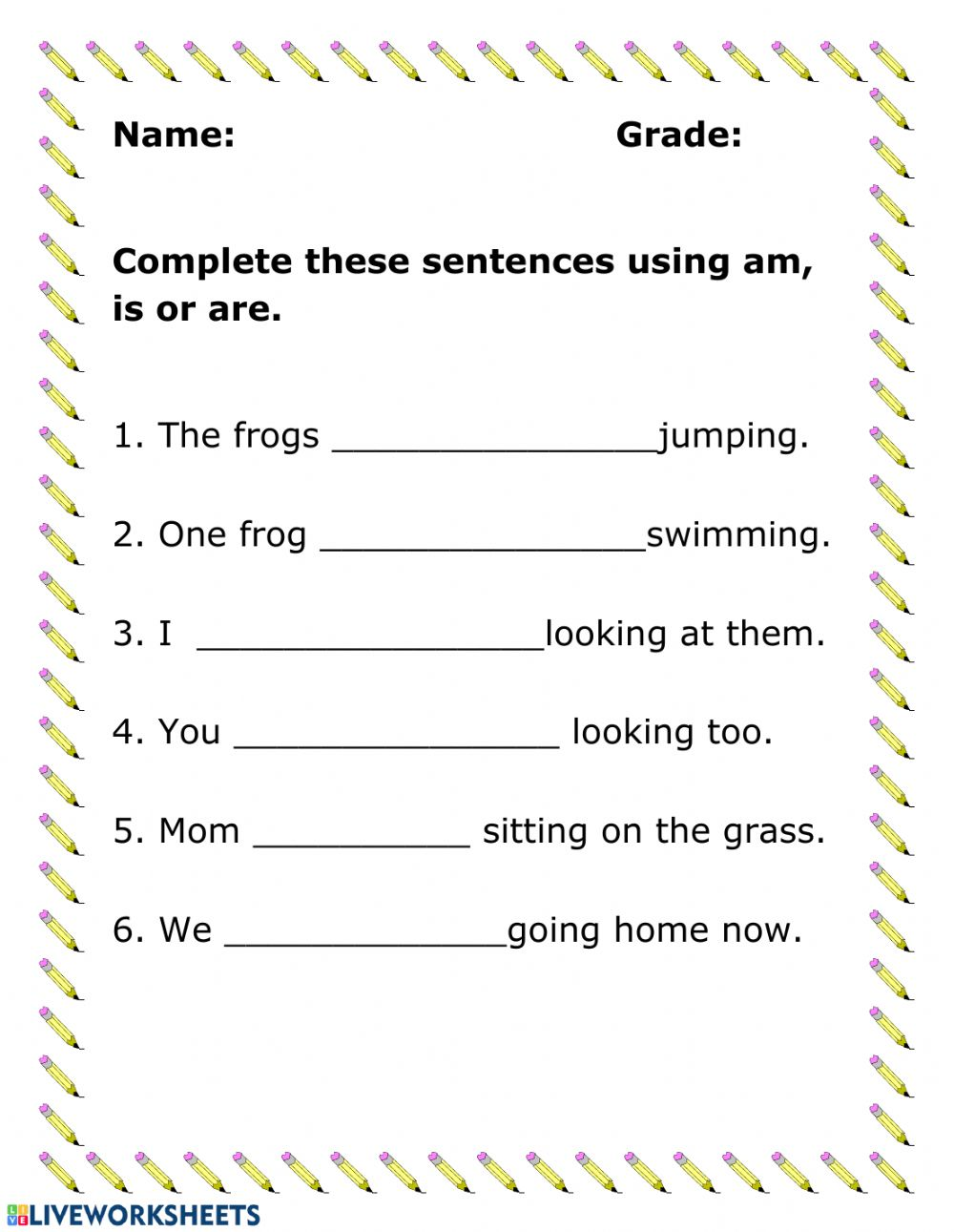 hight resolution of Verbs online activity for Grade 1
