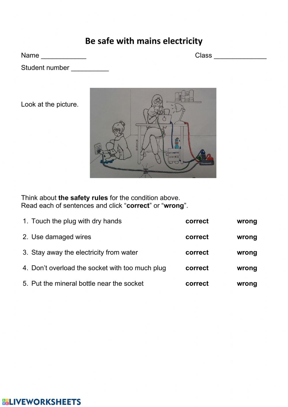 medium resolution of Stay safe with electricity worksheet