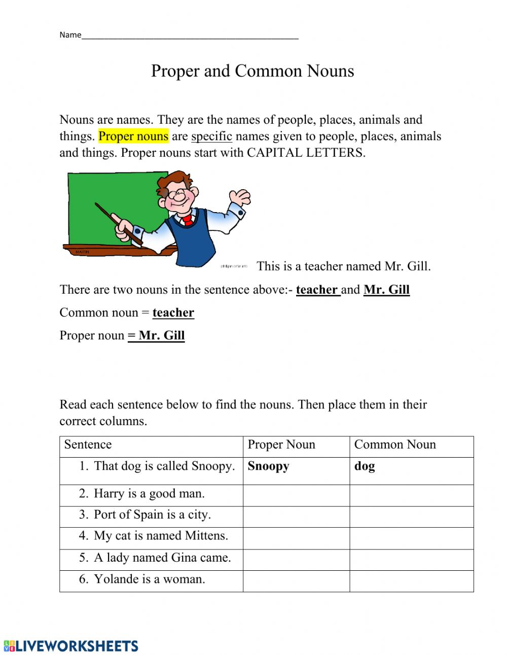 hight resolution of Proper and Common Nouns Practice worksheet