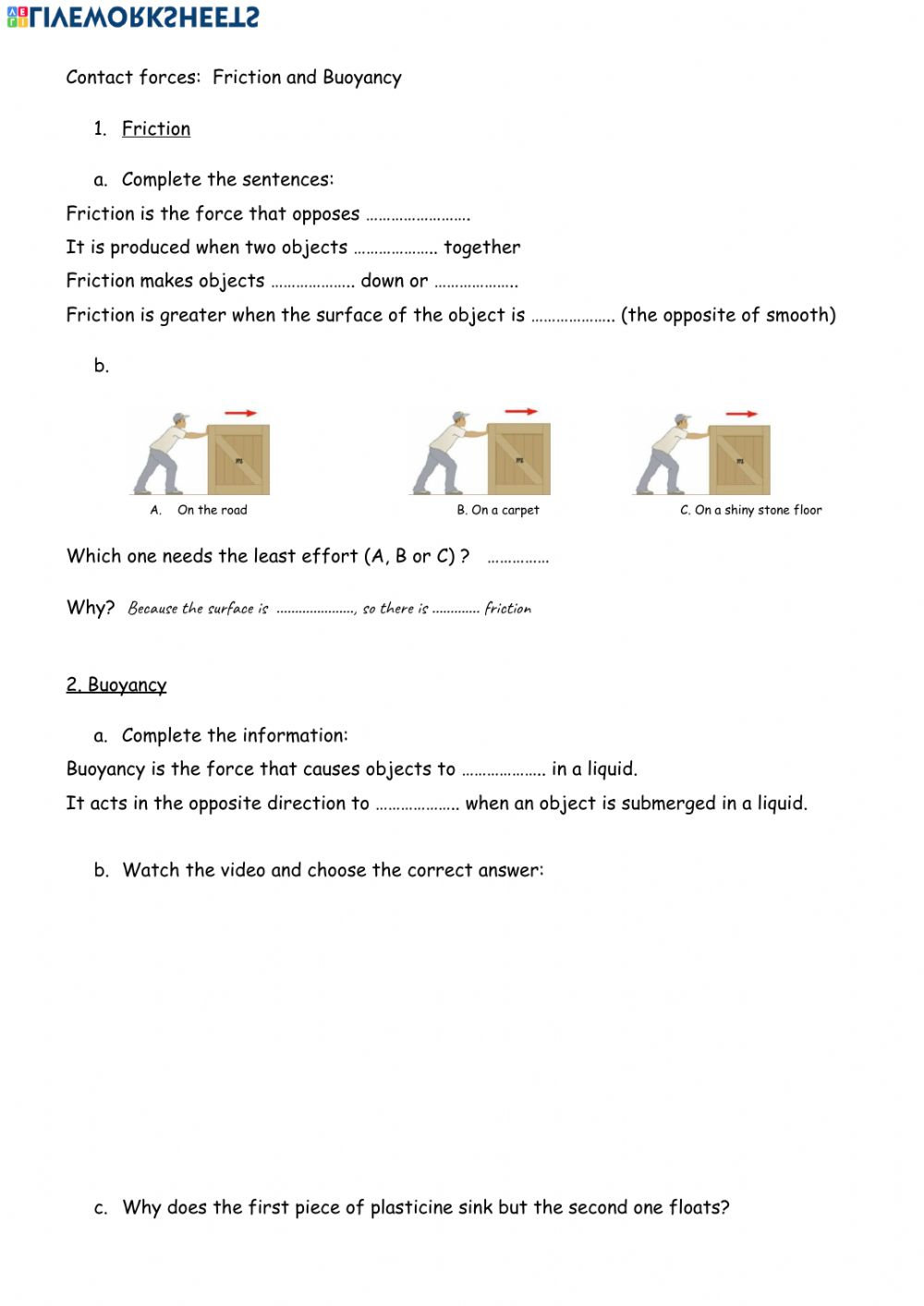 hight resolution of Friction and buoyancy worksheet