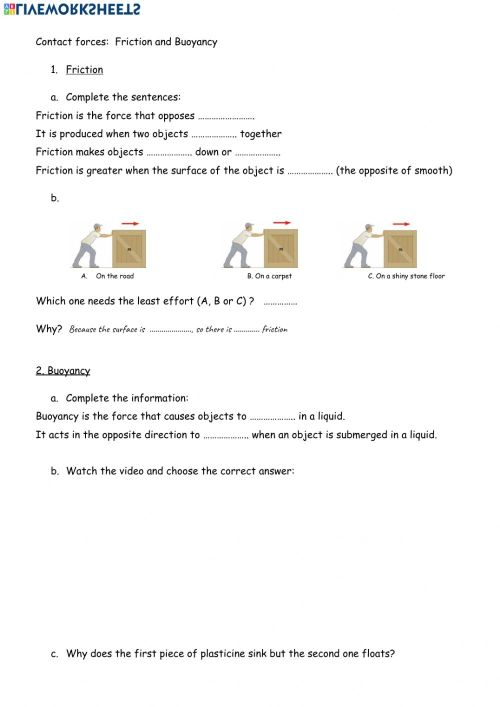 small resolution of Friction and buoyancy worksheet