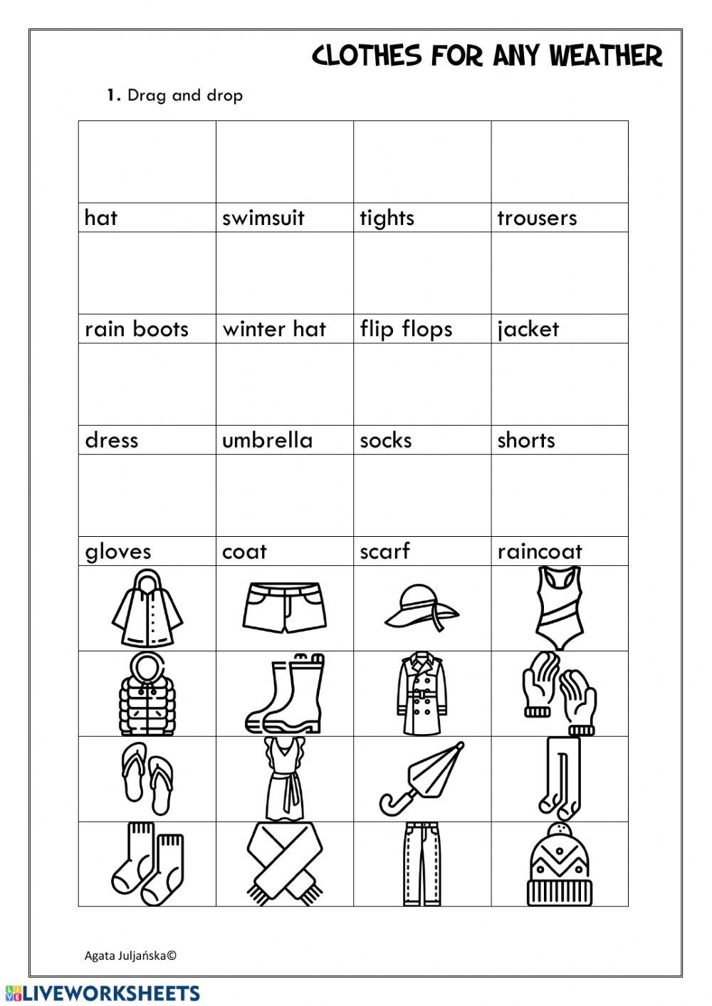 medium resolution of Clothes fo any weather worksheet