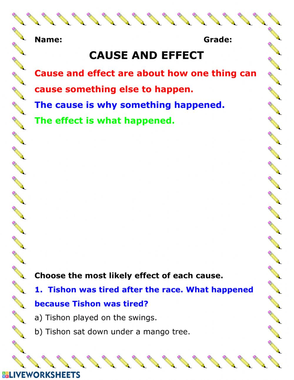 hight resolution of Cause and Effect activity