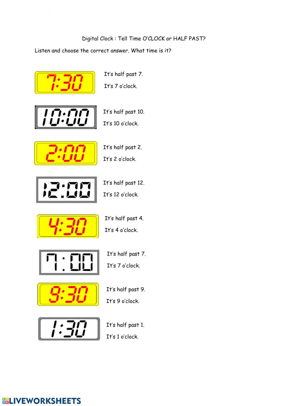 medium resolution of Tell Time: O'clock and Half Past worksheet