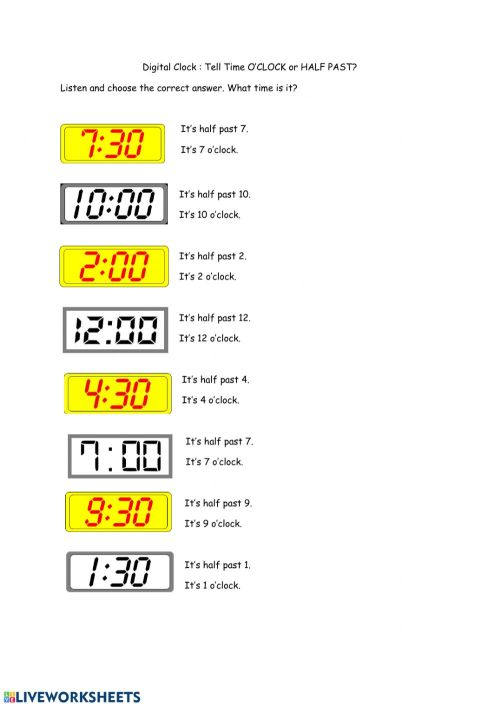small resolution of Tell Time: O'clock and Half Past worksheet