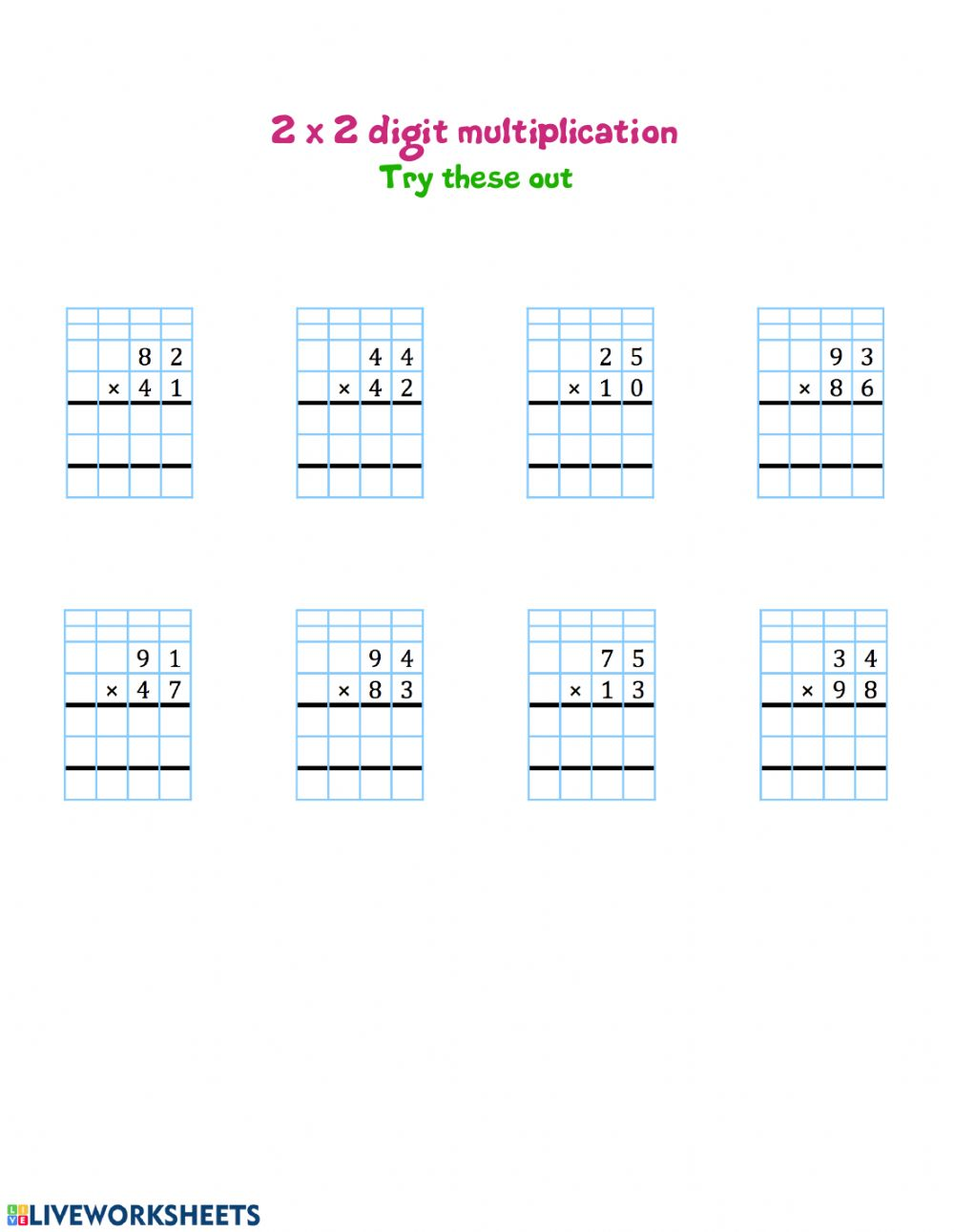 hight resolution of 2 by 2 digit multiplication interactive worksheet