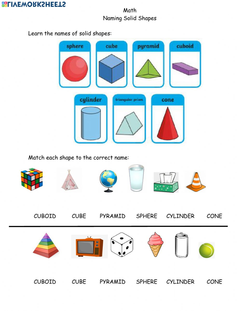 hight resolution of Math Solid Shapes April 5th worksheet