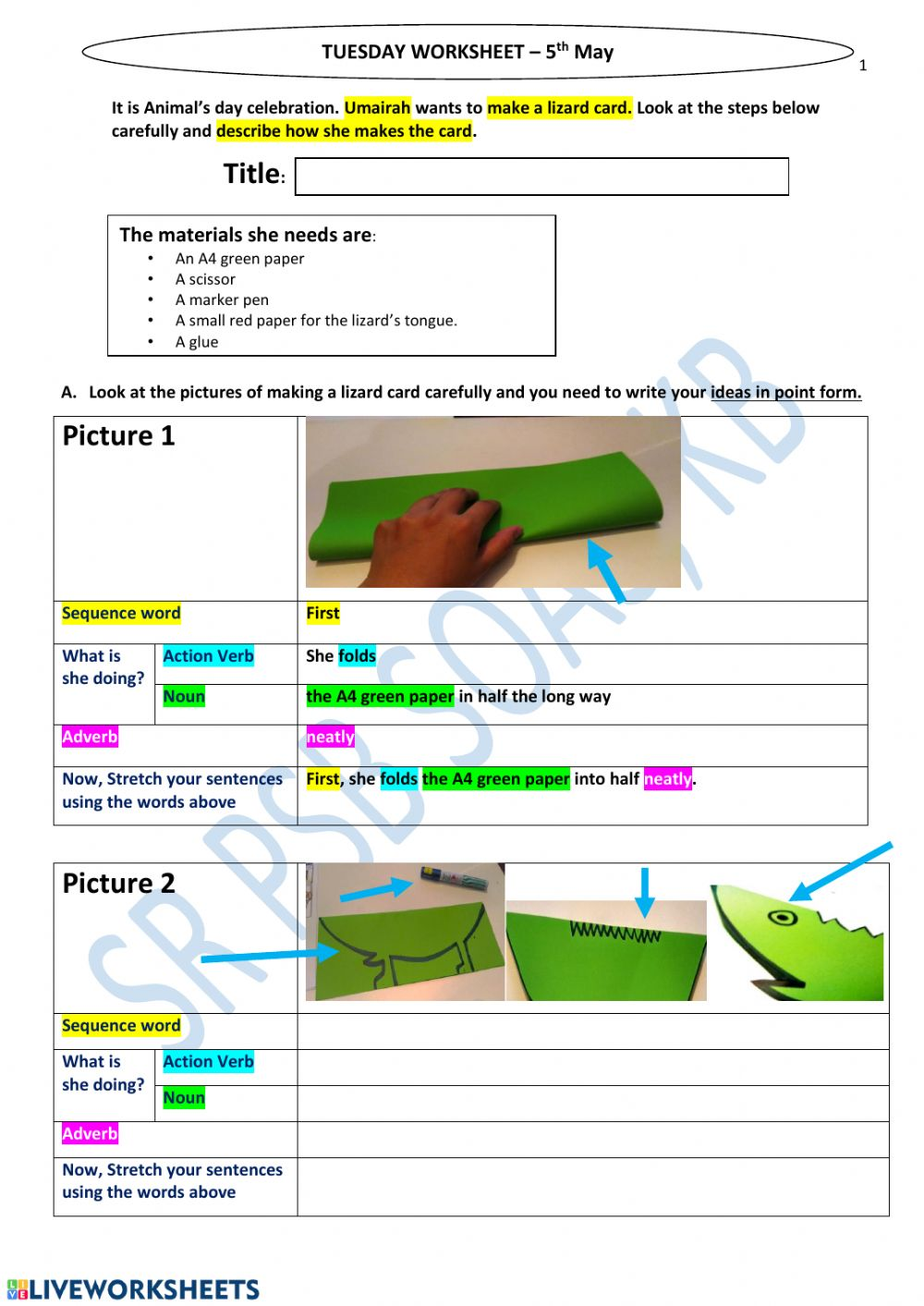 medium resolution of Crafts Procedural writing worksheet