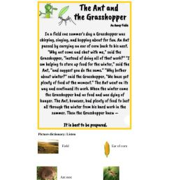 The Ant and the Grasshopper text \u0026 story map worksheet [ 1413 x 1000 Pixel ]