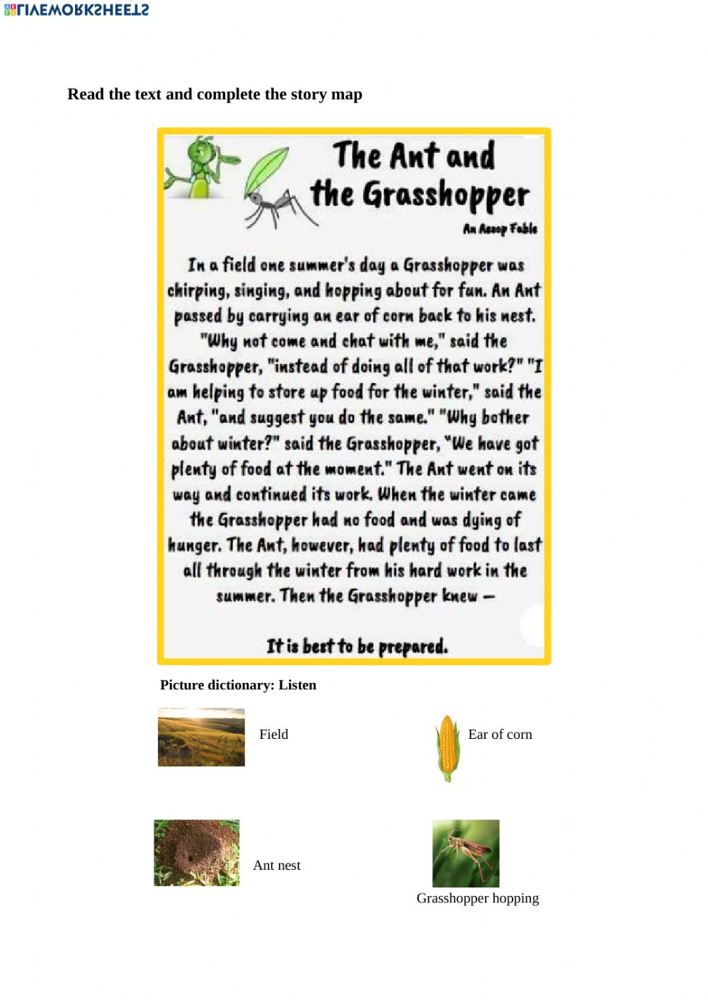 medium resolution of The Ant and the Grasshopper text \u0026 story map worksheet