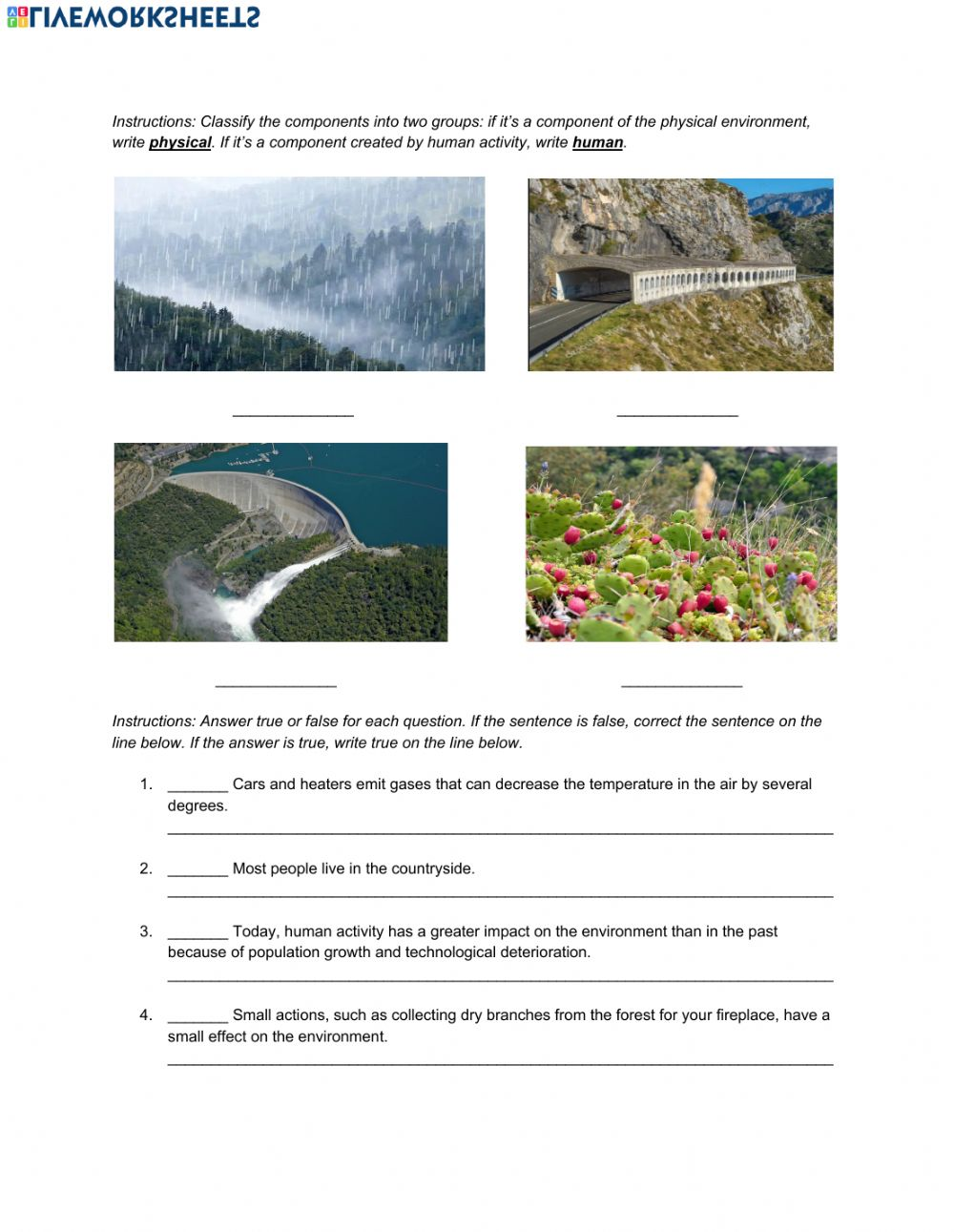 medium resolution of Natural Science 5th Grade ESL - People and the environment worksheet