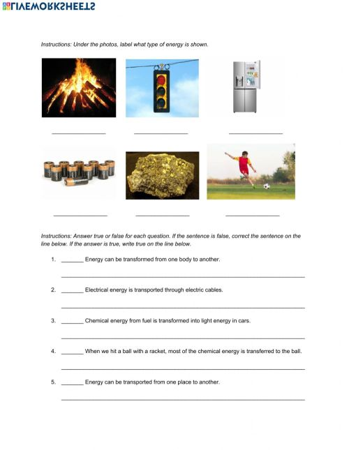 small resolution of Natural Science 5th Grade ESL - Energy worksheet