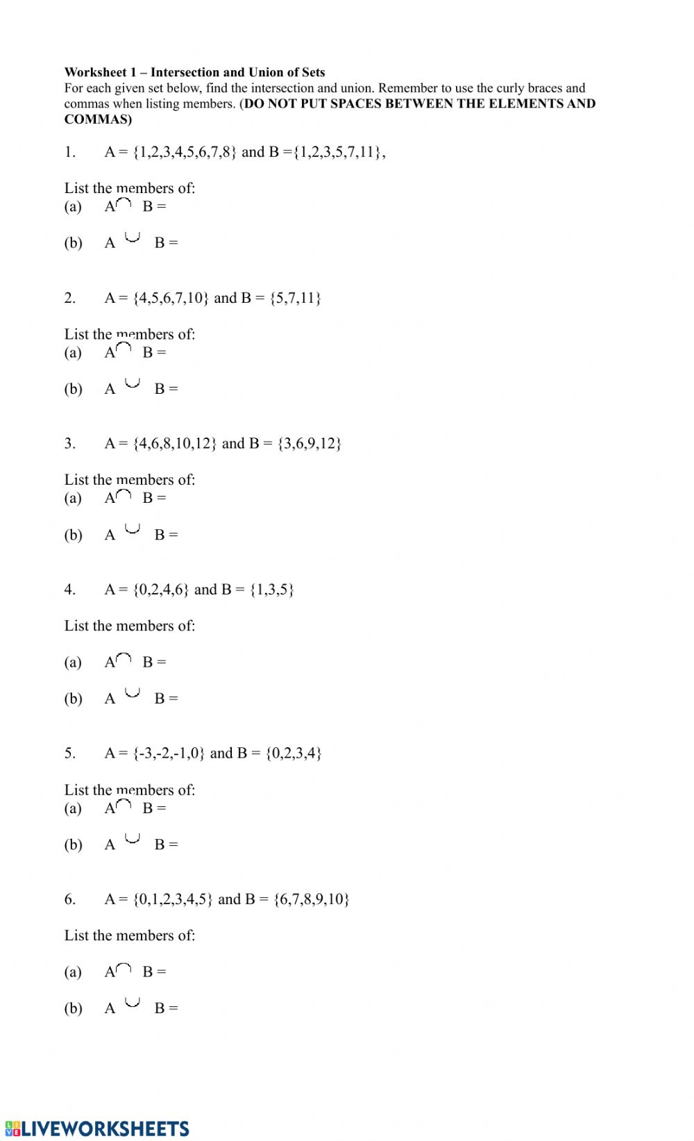 hight resolution of Intersection and Union of Sets worksheet