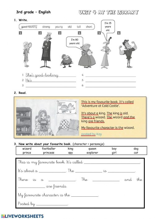 small resolution of Characters worksheet for Grade 3