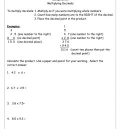 Multiplying Decimals worksheet [ 1291 x 1000 Pixel ]