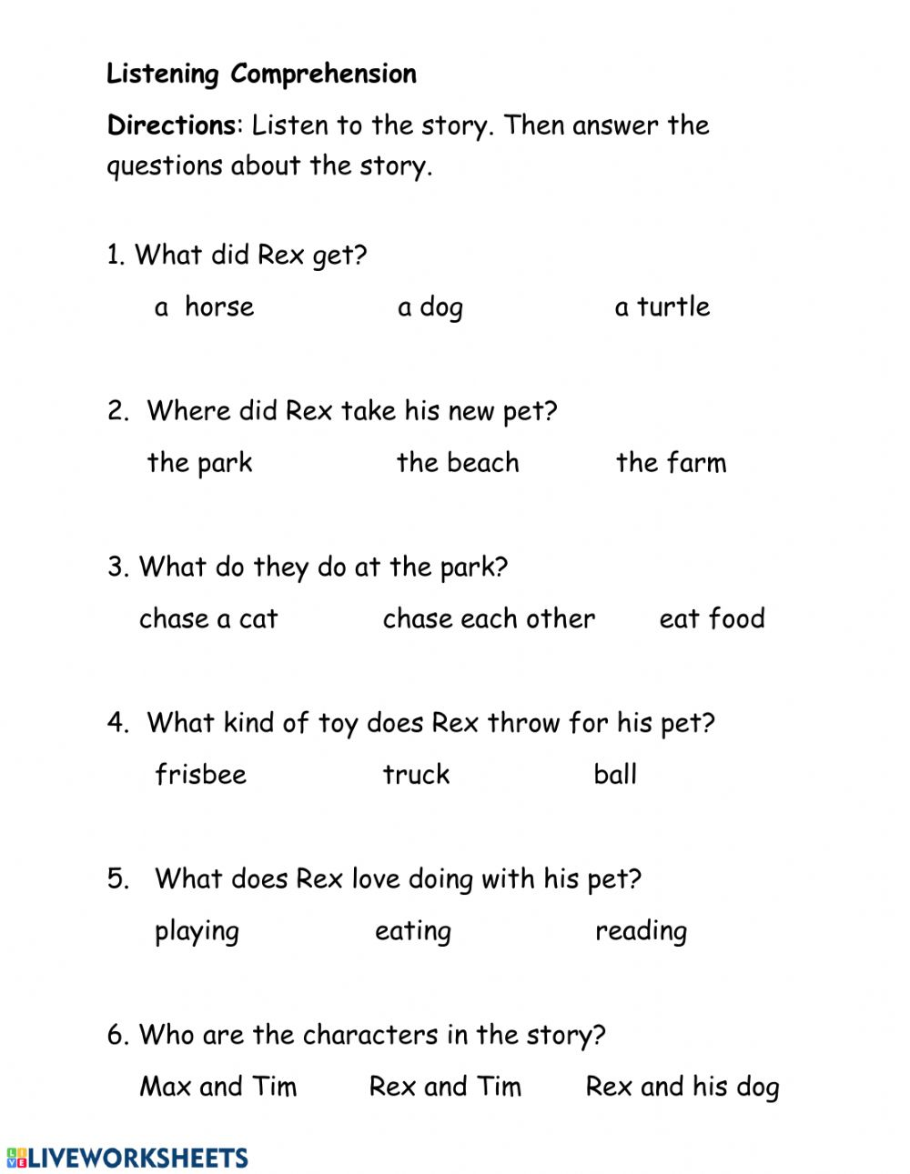 medium resolution of Listening Comprehension interactive exercise for Grade 1