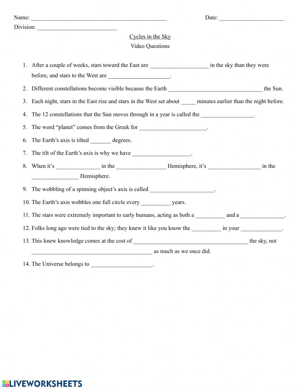medium resolution of Crash Course Astronomy - Cycles in the Sky worksheet