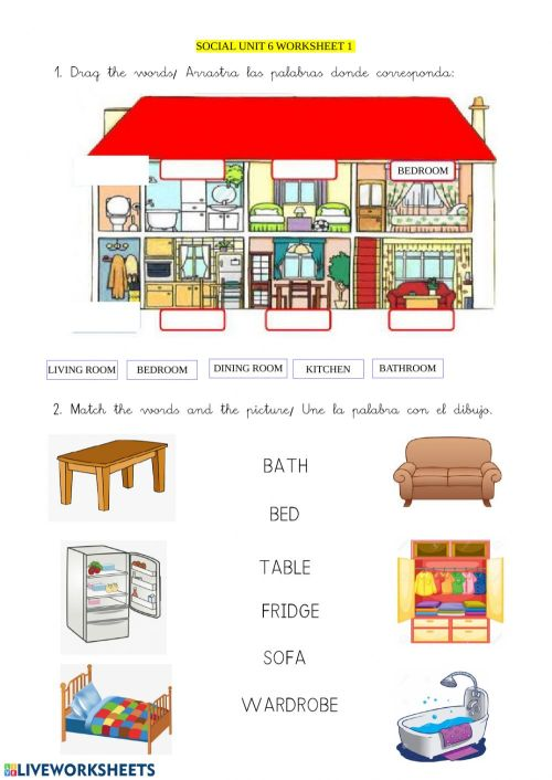 small resolution of My house interactive worksheet for GRADE 1