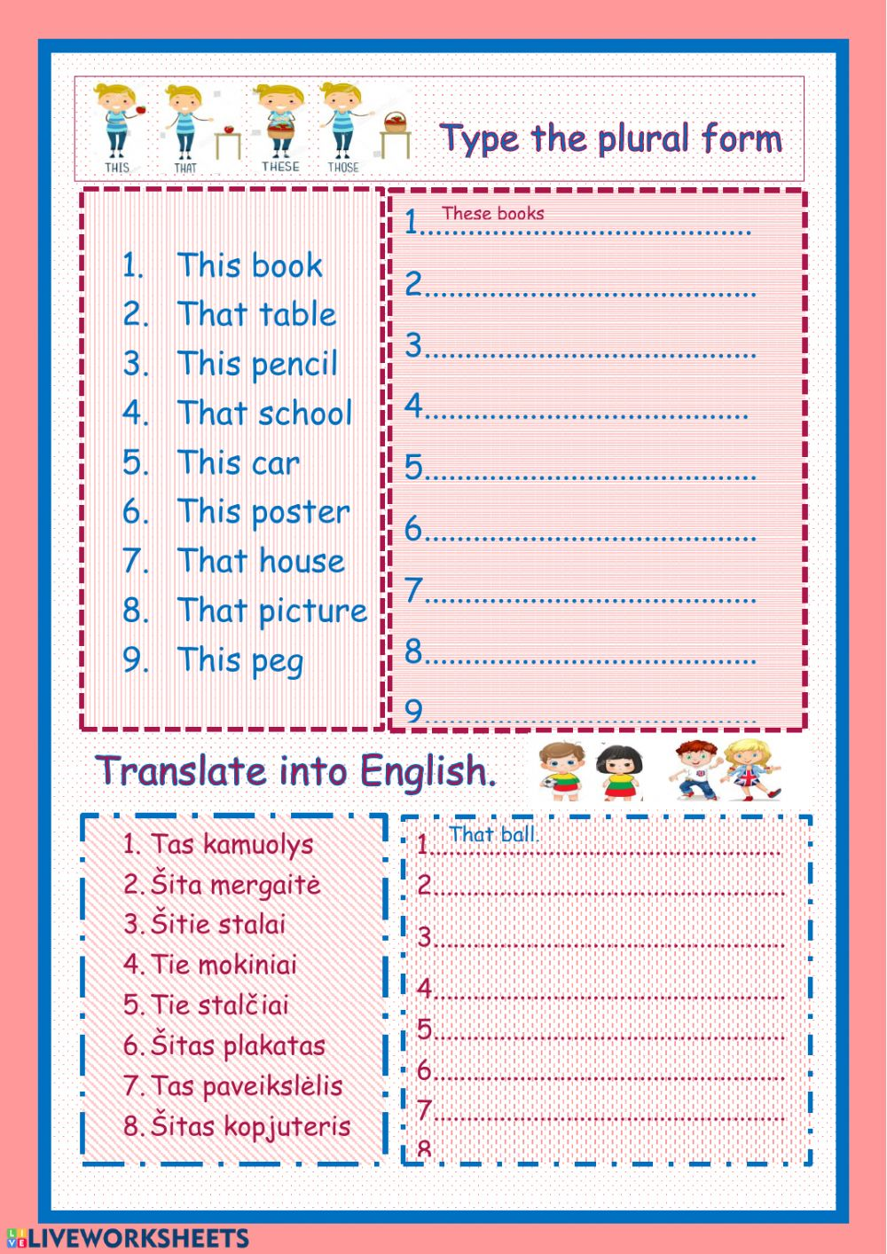 medium resolution of Demonstrative pronouns interactive worksheet for grade 2