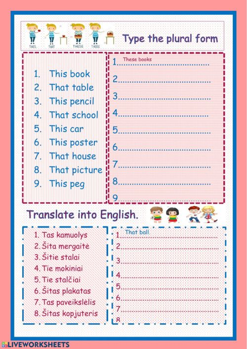 small resolution of Demonstrative pronouns interactive worksheet for grade 2