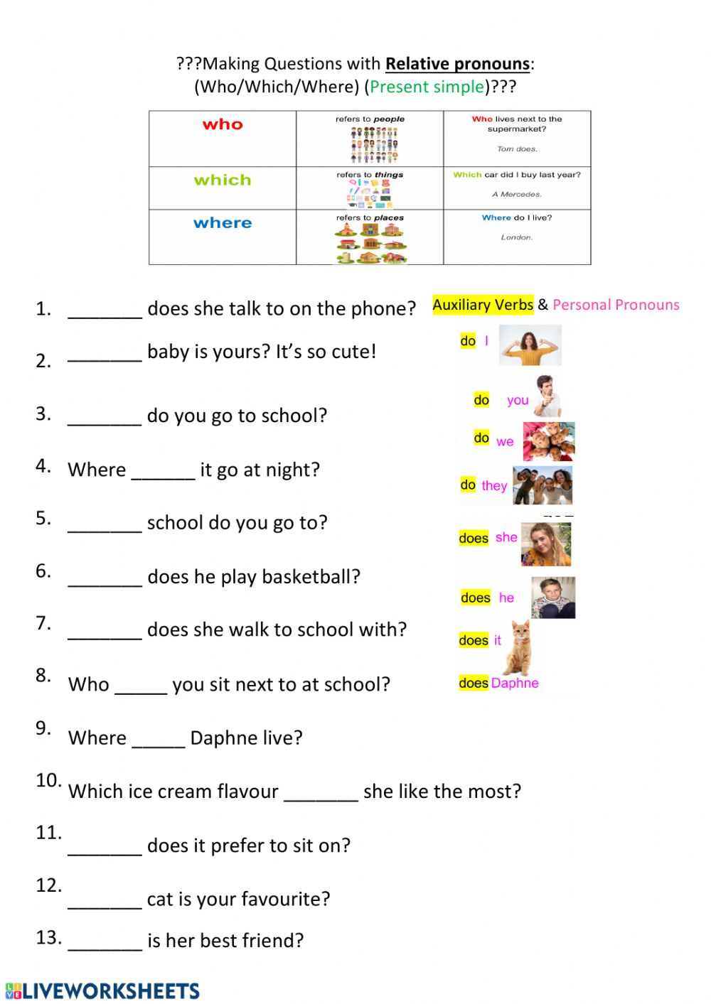 medium resolution of Relative pronoun questions (which-where-who) worksheet