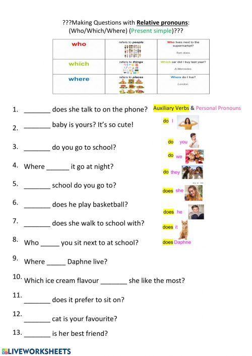 small resolution of Relative pronoun questions (which-where-who) worksheet