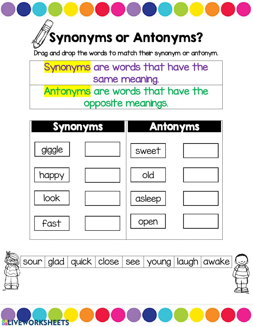 hight resolution of synonyms or antonyms worksheet