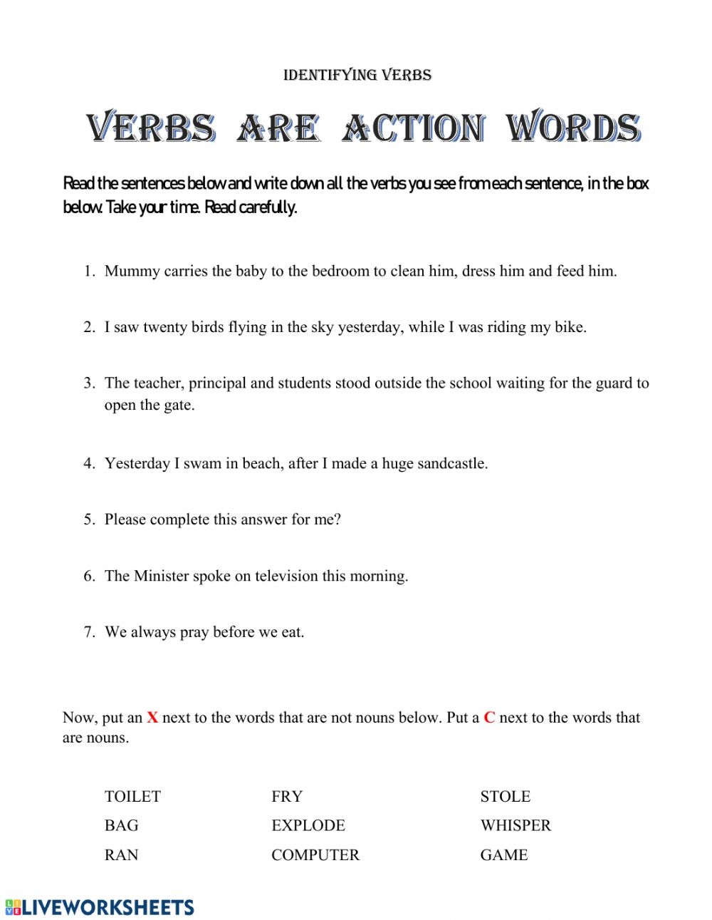 hight resolution of Identifying Verbs worksheet