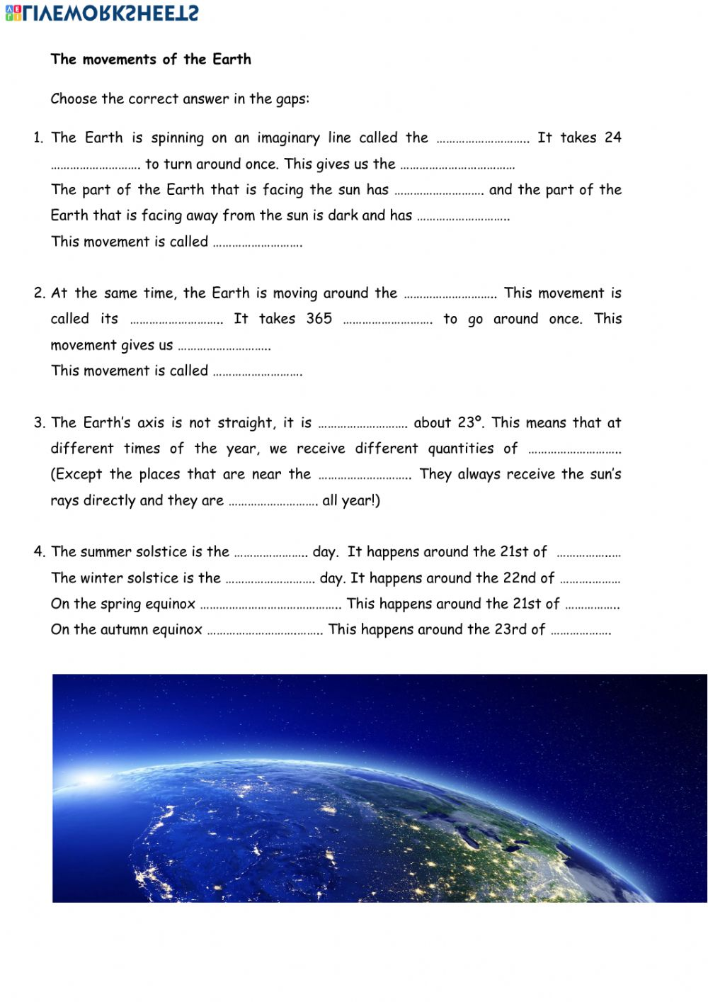 hight resolution of Movements of the Earth. worksheet