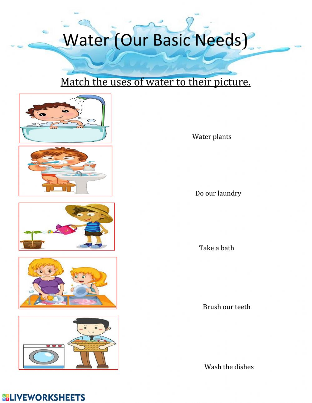hight resolution of Water exercise for Grade 3