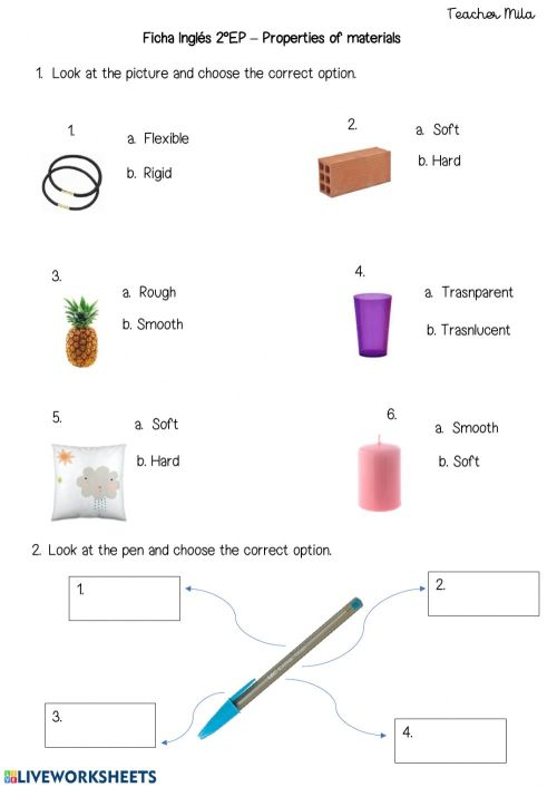 small resolution of Properties of materials activity for 2ND GRADE