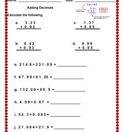 Adding Decimals worksheet [ 1291 x 1000 Pixel ]