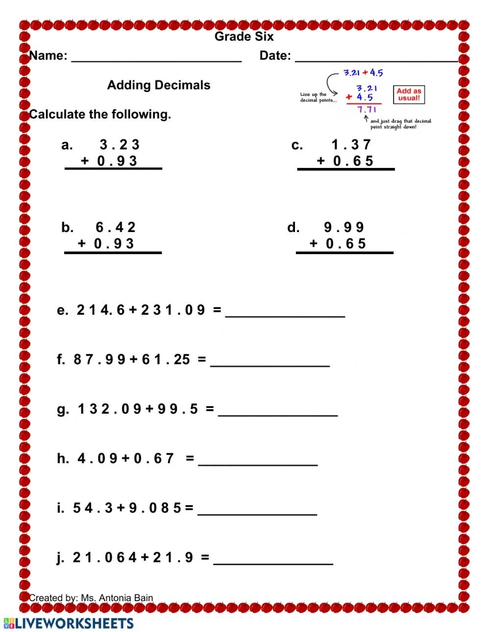 medium resolution of Adding Decimals worksheet