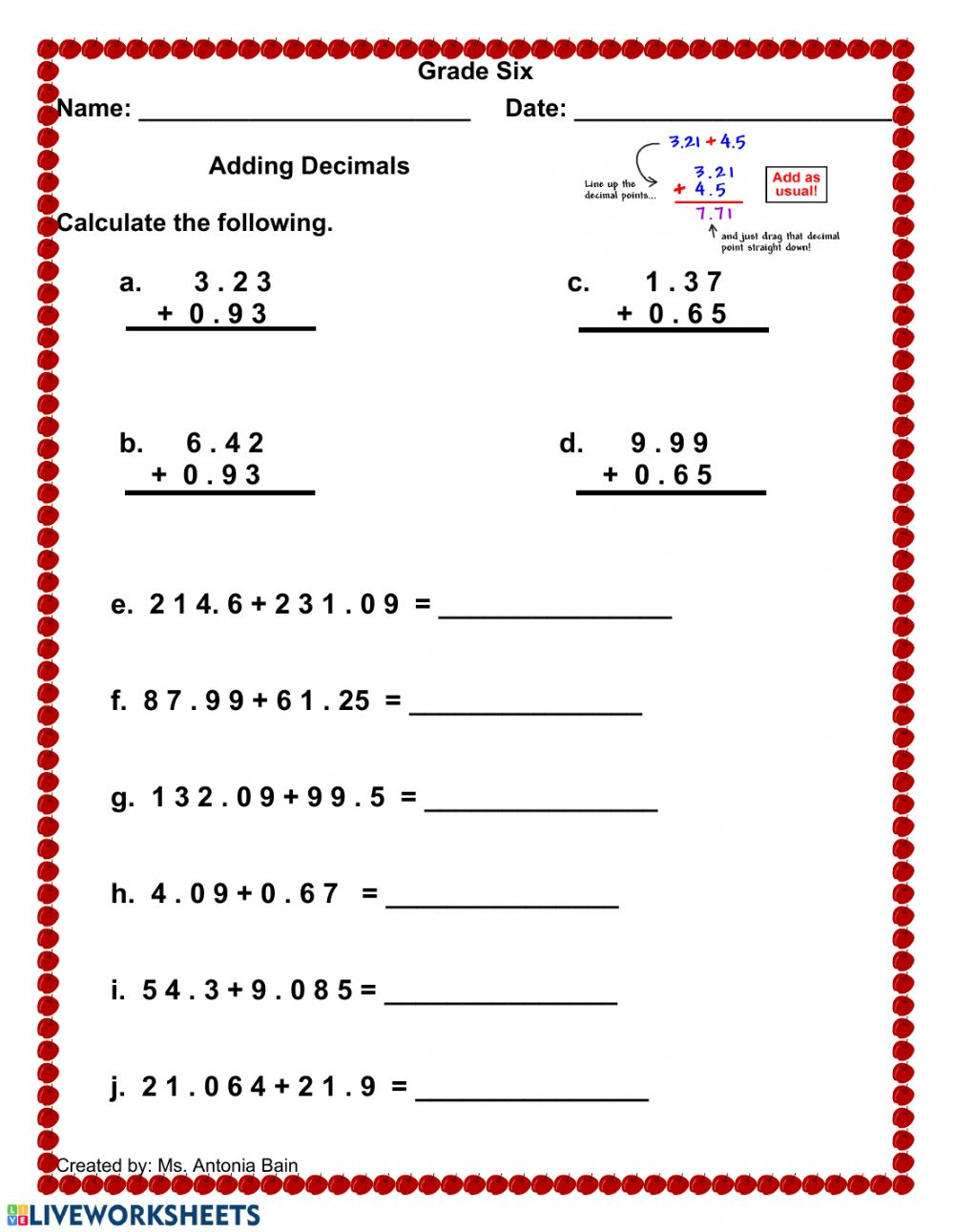 hight resolution of Adding Decimals worksheet