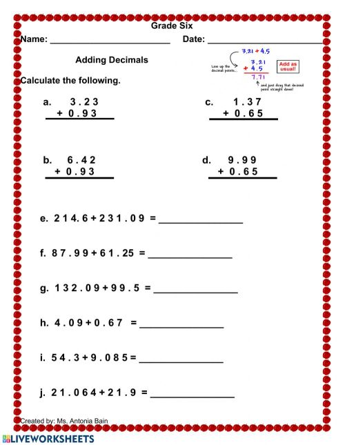 small resolution of Adding Decimals worksheet