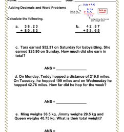 Adding Decimals with Word Problems worksheet [ 1291 x 1000 Pixel ]