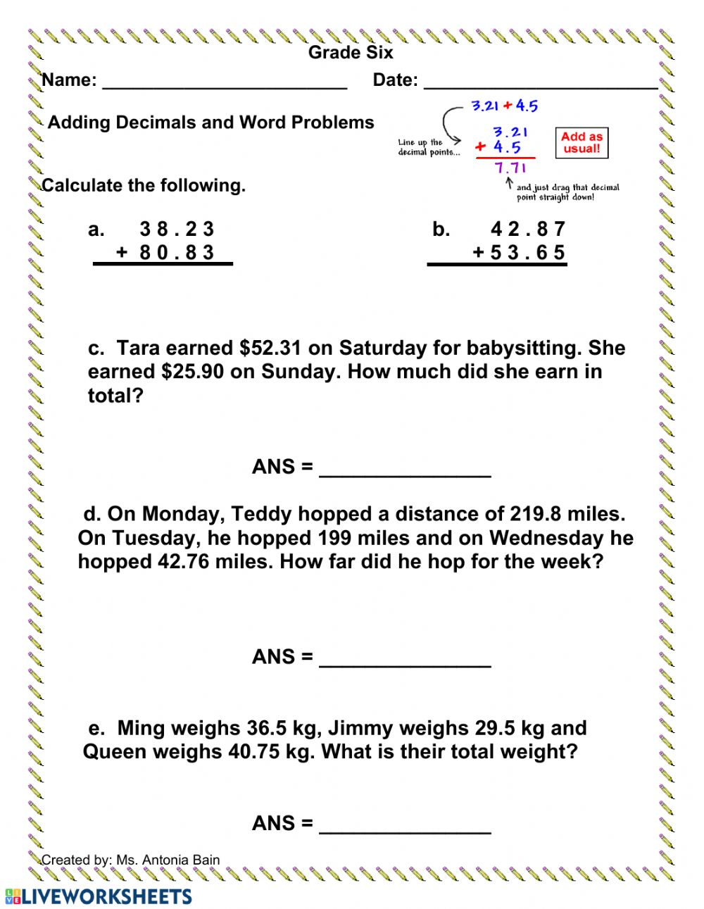hight resolution of Adding Decimals with Word Problems worksheet