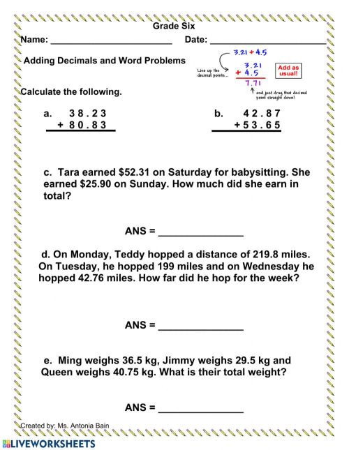 small resolution of Adding Decimals with Word Problems worksheet