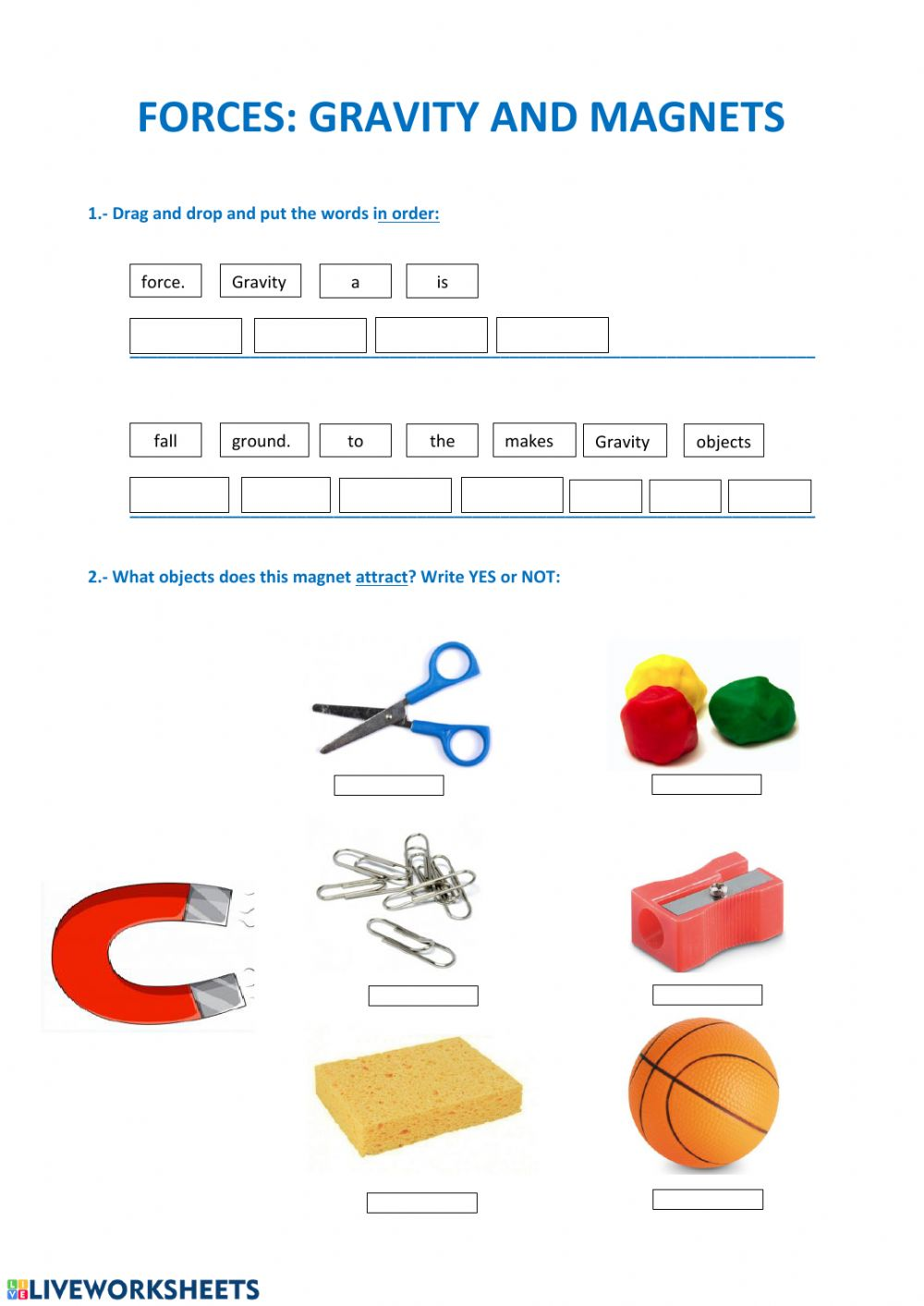 hight resolution of Gravity and magnets worksheet