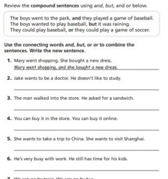 Compound Sentences worksheet [ 1259 x 1000 Pixel ]
