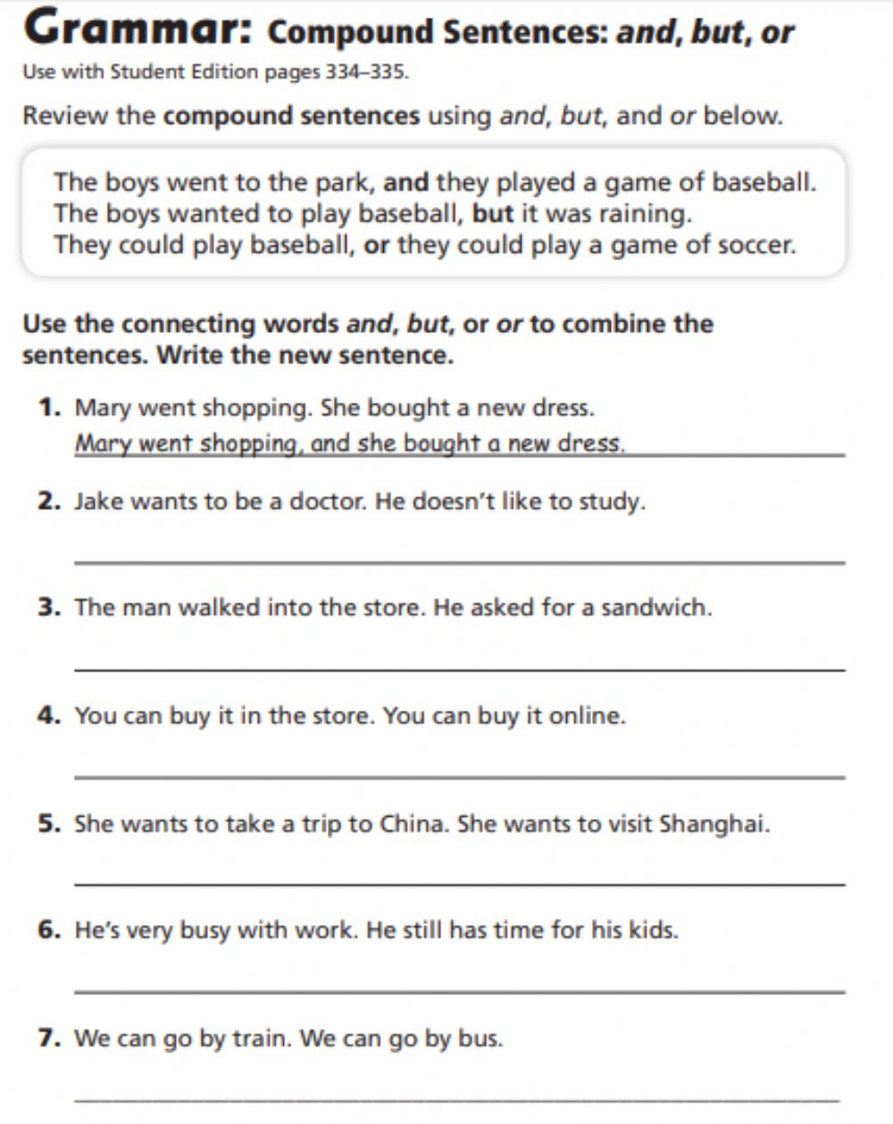hight resolution of Compound Sentences worksheet