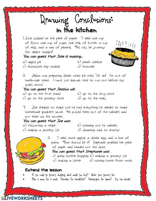 small resolution of Drawing Conclusions: In the kitchen worksheet