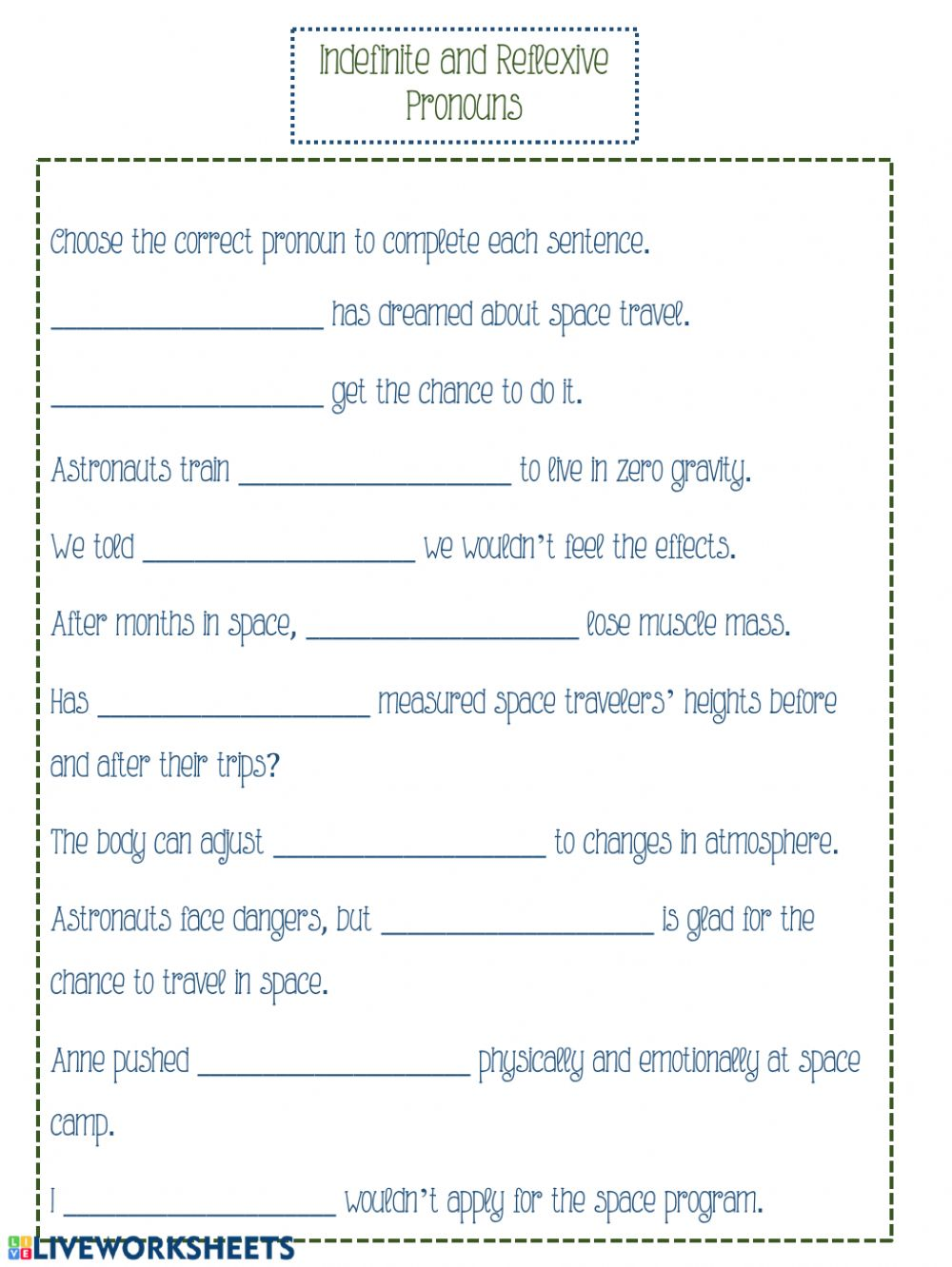 hight resolution of Indefinite and Reflexive Pronouns worksheet