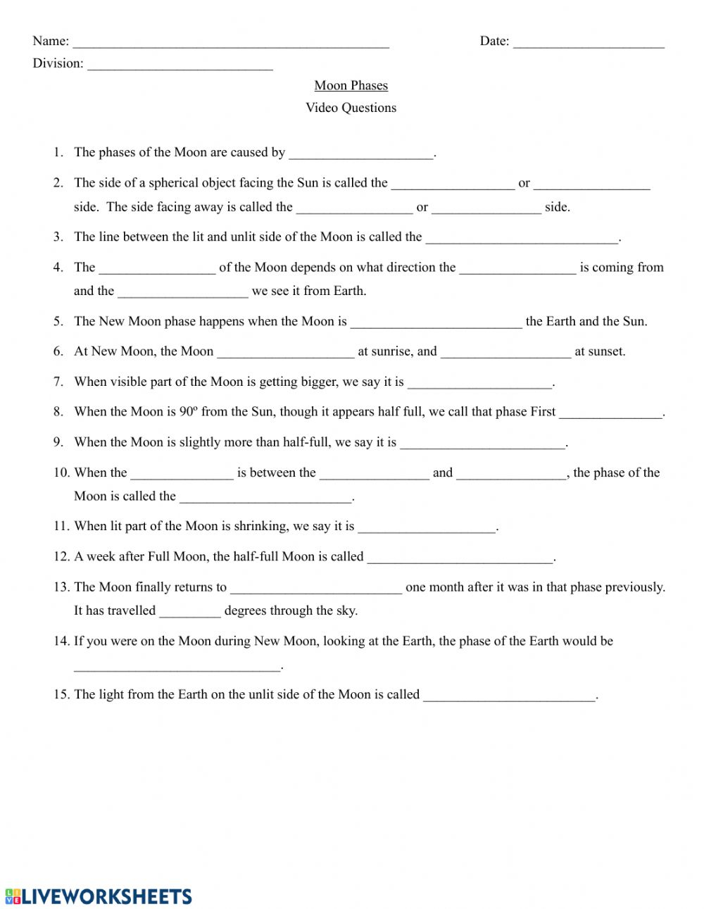 hight resolution of Crash Course Astronomy - Moon Phases worksheet