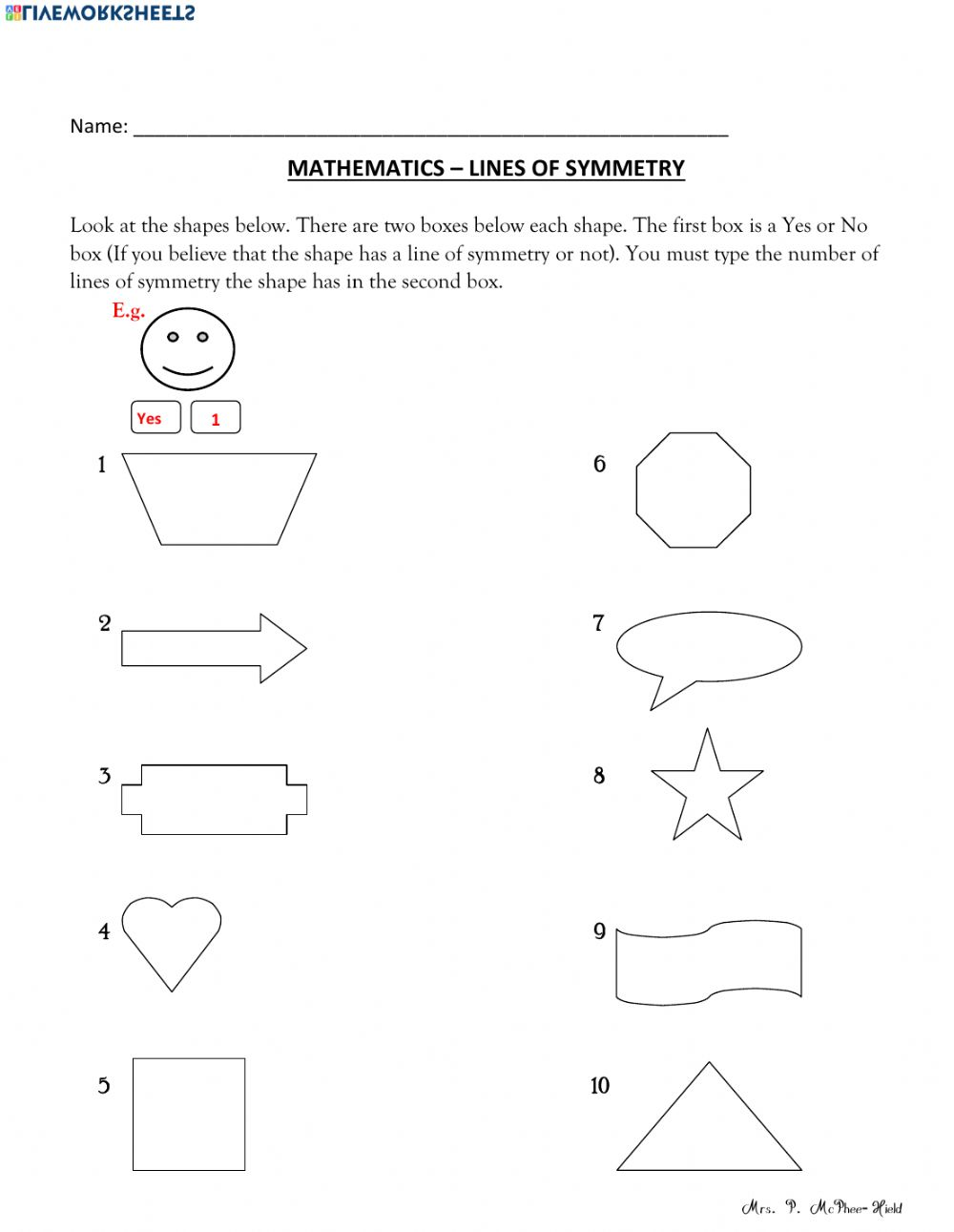 hight resolution of Find the Lines of Symmetry worksheet