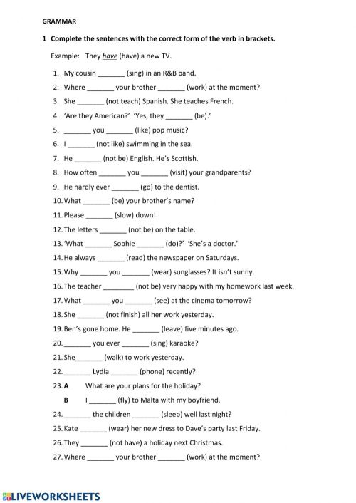 small resolution of English file elementary grammar revision worksheet