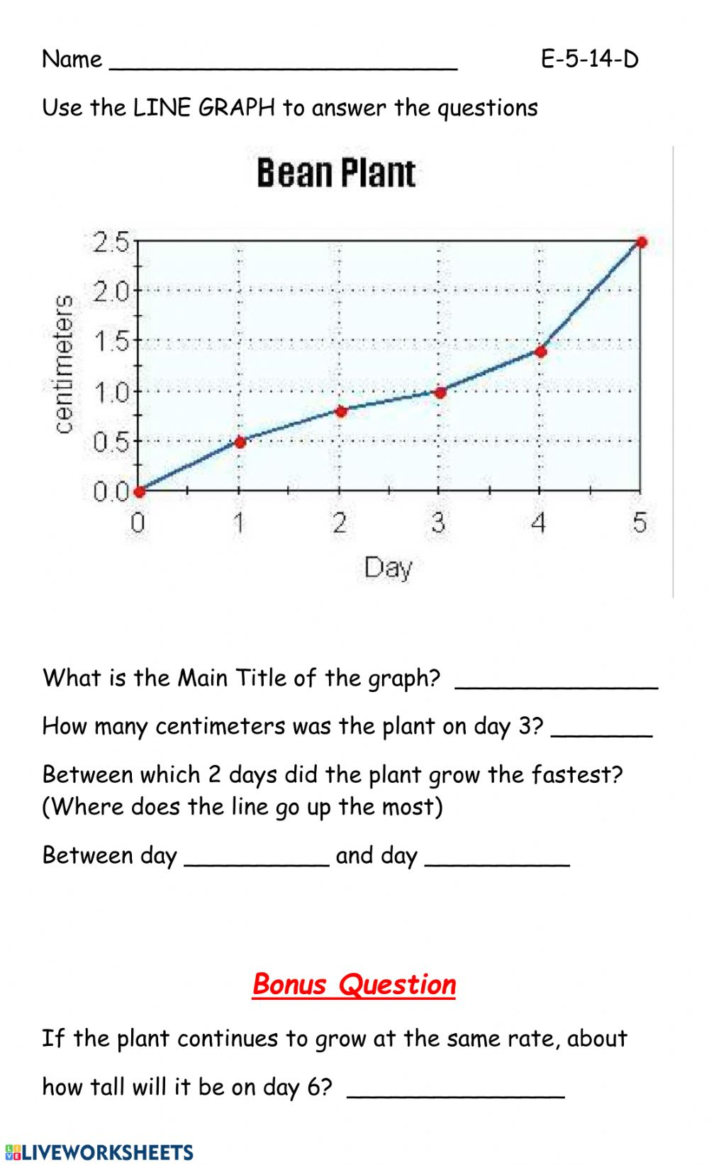 hight resolution of LIne graph interactive worksheet