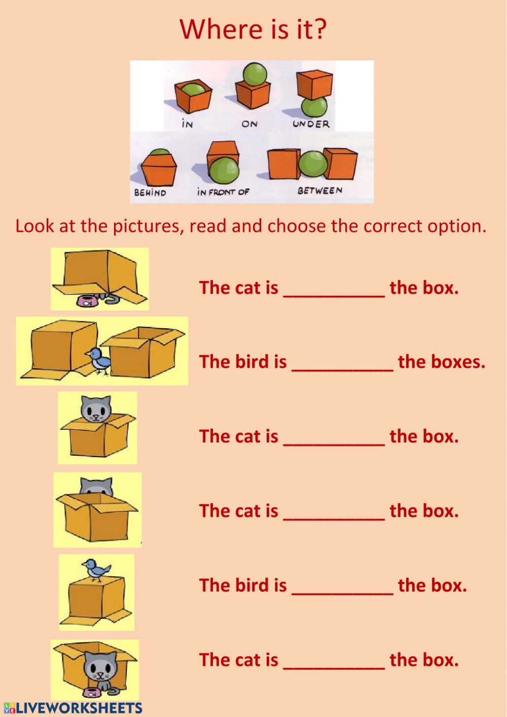 hight resolution of Prepositions of place worksheet for Grade 1 and 2
